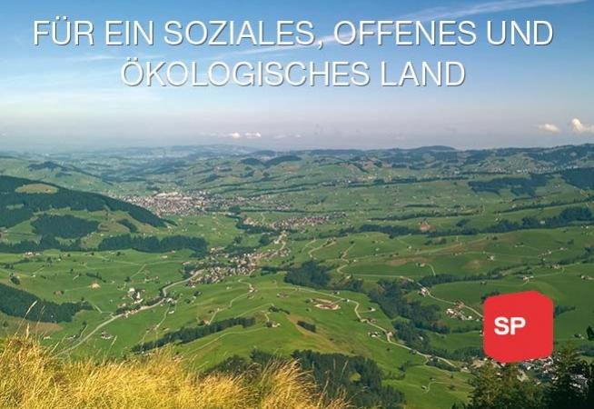 Blick auf Appenzeller Land von Alp Sigel mit Text 'Für eine soziale, offene und ökologische Schweiz'