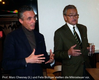 Prof. Marc Chesney (li.) und Felix Bolliger bei «Appenzell diskutiert» am 24. November 2016.