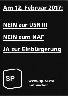 Parolen der SP AI zu Abstimmungen 12.2.17